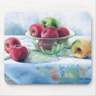 0002 Apples in Green Glass Bowl Mousepad