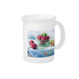 0002 Apples in Green Glass Bowl Pitcher