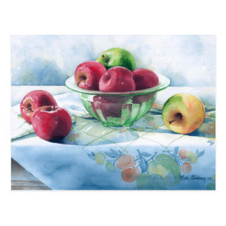 0002 Apples in Green Glass Bowl Postcard
