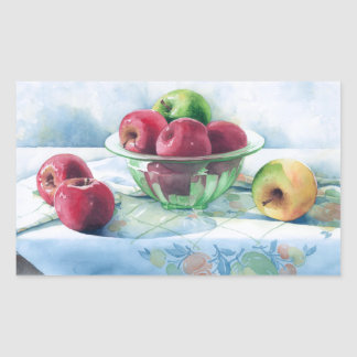 0002 Apples in Green Glass Bowl Stickers