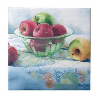 0002 Apples in Green Glass Bowl Tile