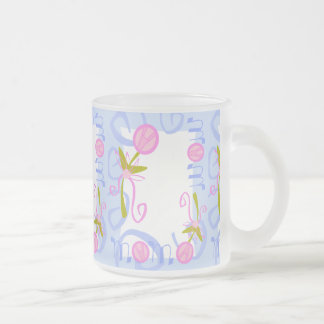 0002 PASTEL MOM BABY BLUE PINKS  LOVE FAMILY SWIRL FROSTED GLASS COFFEE MUG