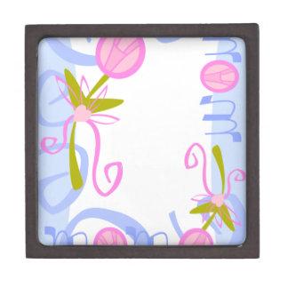 0002 PASTEL MOM BABY BLUE PINKS  LOVE FAMILY SWIRL PREMIUM TRINKET BOX