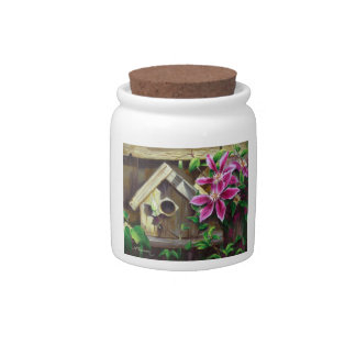 0003 Birdhouse & Clematis Cannister Candy Jar