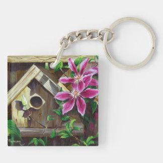 0003 Birdhouse & Clematis Keychain Acrylic Key Chains