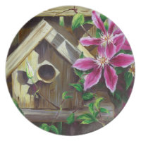 0003 Birdhouse & Clematis Plate
