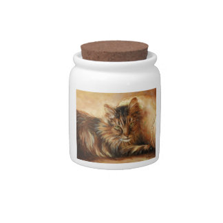 0005 Cat on Pillow Cannister Candy Dish