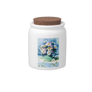 0006 Daisies in Green Teapot Cannister Candy Jar