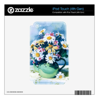 0006 Daisies in Green Teapot iPod Touch 4G Skin