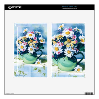 0006 Daisies in Green Teapot Kindle Fire Skins
