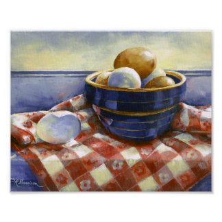0008 Eggs in Blue Bowl Art Print