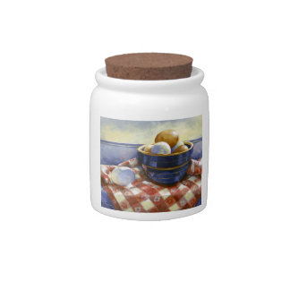 0008 Eggs in Blue Bowl Cannister Candy Jar
