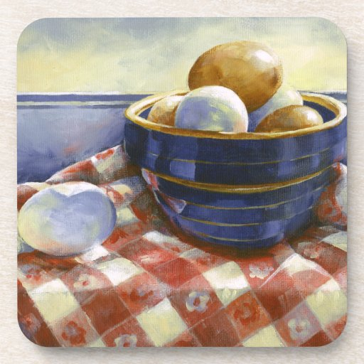0008 Eggs in Blue Bowl Cork Coasters