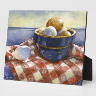 0008 Eggs in Blue Bowl Plaque