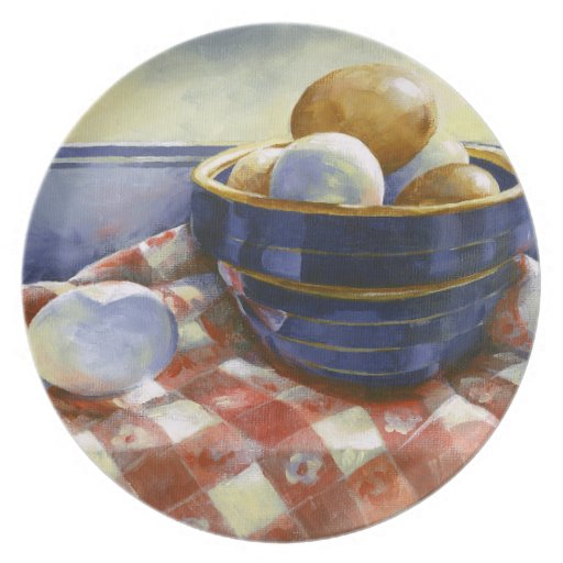 0008 Eggs in Blue Bowl Plate