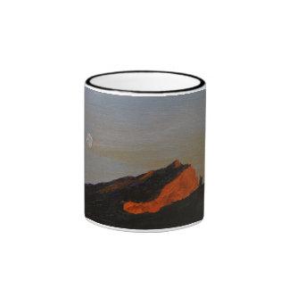0008-full moon sunset on Mte Ste Victoire Ringer Mug
