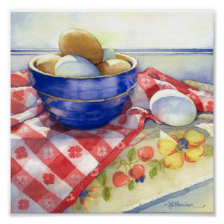 0009 Eggs in Blue Bowl Art Print