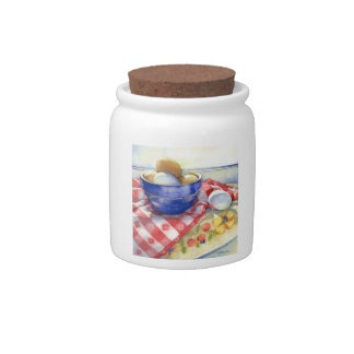 0009 Eggs in Blue Bowl Cannister Candy Jar