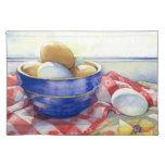 0009 huevos en el cuenco azul Placemat Manteles