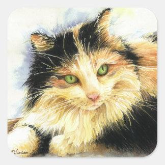 0010 Calico Cat Square Sticker