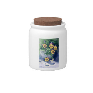 0011 Pansies in Planter Cannister Candy Jars