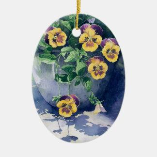 0011 Pansies in Planter Ceramic Ornament