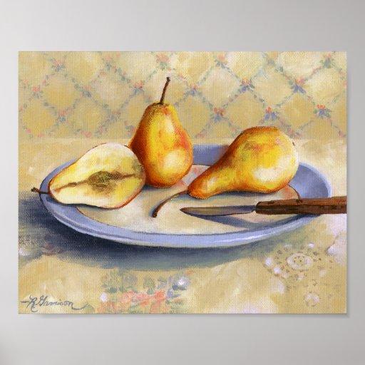 0012 Pears & Knife on Platter Art Print