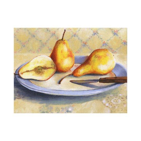 0012 Pears & Knife on Platter Canvas Print