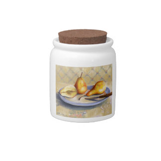 0012 Pears on Platter Cannister Candy Dish