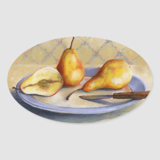 0012 Pears on Platter Oval Sticker