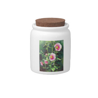 0013 Pink Hollyhocks Cannister Candy Dish