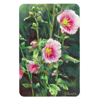 0013 Pink Hollyhocks Magnet