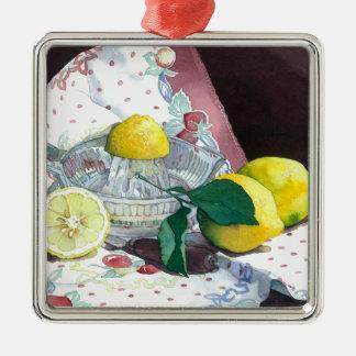 0014 When Life Gives You Lemons Square Metal Christmas Ornament