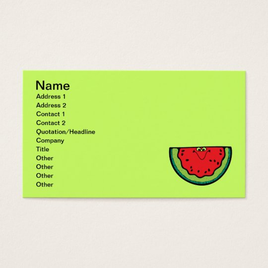 001 HAPPY CARTOON WATERMELON FRUITS SUMMER BRIGHT BUSINESS CARD