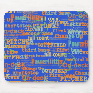 002 BASEBALL WORDS HIT PITCHER ON-DECK THIRD BASE MOUSE PAD