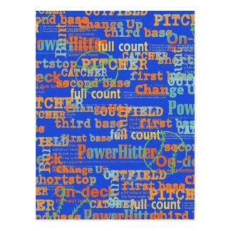 002 BASEBALL WORDS HIT PITCHER ON-DECK THIRD BASE POSTCARD