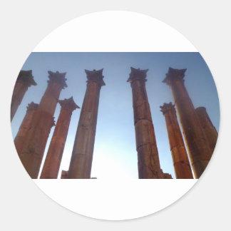 002 Jerash Roman Columns 2 Classic Round Sticker