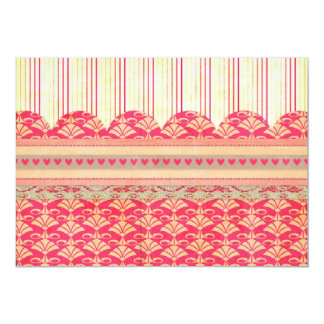 002 STRIPES DAMASK PATTERN SCRAPBOOKING RED HEARTS CARD
