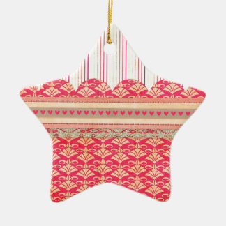 002 STRIPES DAMASK PATTERN SCRAPBOOKING RED HEARTS CHRISTMAS TREE ORNAMENTS
