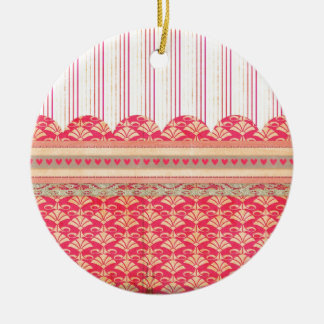 002 STRIPES DAMASK PATTERN SCRAPBOOKING RED HEARTS CHRISTMAS ORNAMENT