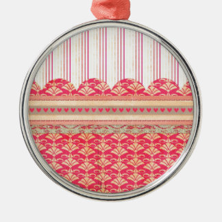 002 STRIPES DAMASK PATTERN SCRAPBOOKING RED HEARTS ORNAMENTS