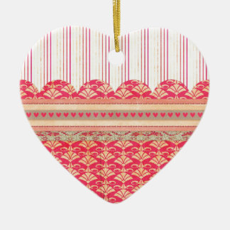 002 STRIPES DAMASK PATTERN SCRAPBOOKING RED HEARTS CHRISTMAS TREE ORNAMENT
