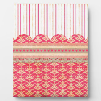 002 STRIPES DAMASK PATTERN SCRAPBOOKING RED HEARTS DISPLAY PLAQUE