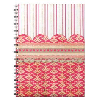 002 STRIPES DAMASK PATTERN SCRAPBOOKING RED HEARTS SPIRAL NOTEBOOKS