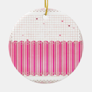 002 STRIPES GIRLY PINKS CREAM PATTERN SCRAPBOOKING CHRISTMAS ORNAMENTS