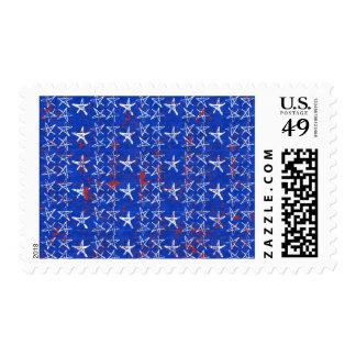 004 ROYAL BRIGHT BLUE WHITE SKETCH STARS RED SPATT STAMP