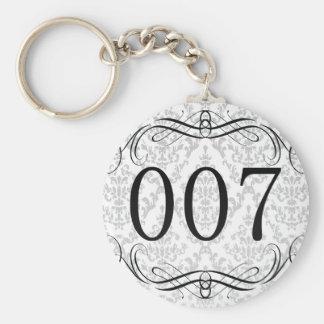 007 Area Code Basic Round Button Keychain