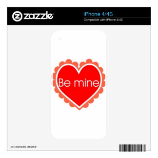 009 BE MINE LOVE RED HEART QUOTE LOVE HAPPY RELATI iPhone 4S DECAL