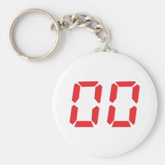 00 red alarm clock number zero zero basic round button keychain