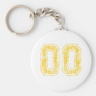 #00 Yellow Varsity Keychain